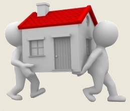 two 3d humans carry a home in their hands